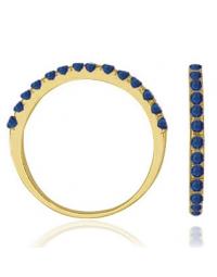 Anel Azul Safira Banhado a Ouro 18k