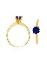 Anel Solitário com Zircônia Azul Folheado a Ouro 18k