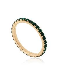 Anel Aparador Verde Esmeralda Banhado a Ouro 18k