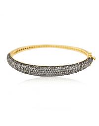 Bracelete Dourado de Festa Cravejado de Zircônias Banhado a Ouro 18k