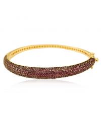 Bracelete de Festa Dourado com Zircônias Pink Semi Joia