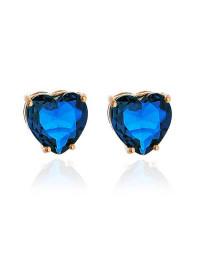 Brincos de Coração Azul Safira Folheados a Ouro 18k