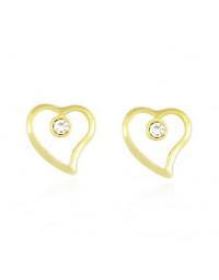 Brincos de Coração Delicados com Cristal de Strass Banhados a Ouro 18k