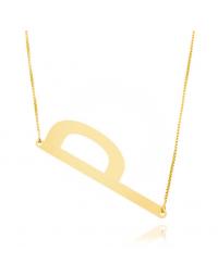 Colar Letra Diagonal Folheado a Ouro 18k