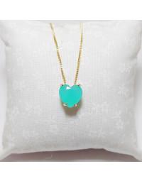 Colar de Coração Azul Leitoso Folheado a Ouro 18k