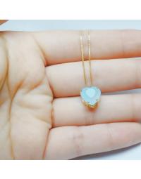 Colar de Coração Azul Claro Folheado a Ouro 18k
