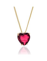 Colar de Coração Pink Rubelita Banhado a Ouro 18k