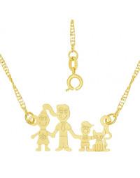 Colar Família Feliz com Casal, Filho Menino e Gatinho Banhado a Ouro 18k