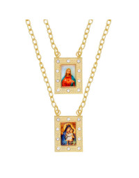 Escapulário Feminino Banhado a Ouro 18k Jesus e N. Sra. do Carmo com Cristais