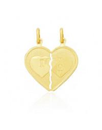 Colar Namorados | Coração Partido em Dois Banhado a Ouro 18k com Correntes