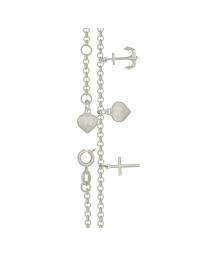 Tornozeleira de Prata Pura Navy Âncora, Cruz e Coração