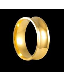 Aliancas de Prata Grossas Concovas e Anatomicas 7mm Banhadas a Ouro 18k - Alianças de Noivado e Casamento