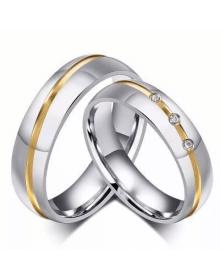 Alianças de Prata Anatômicas com Filete Ouro - Alianças de Namoro e Compromisso
