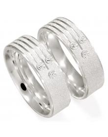Aliancas de Prata Diamantadas com Zircônias 6mm - Alianças de Namoro