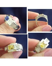 Anel masculino de prata com pedra - Joias masculinas