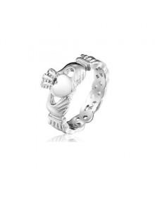 Anel Claddagh de Prata com Nó Celta (anel irlandês)