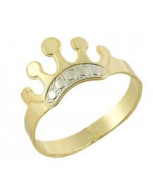 Anel Infantil Coroa Banhado a Ouro 18 K