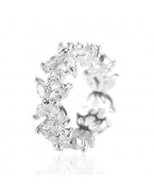 Anel feminino prata com cristais luxo - Anel da Moda Cristal
