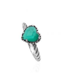 Anel de Prata com Coração de Pedra Verde - Joias de Prata