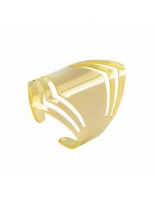 Anel Escudo Feminino Folheado a  Ouro Regulavel Semijoia