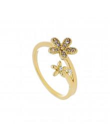 Anel feminino da moda Flor e Zirconia