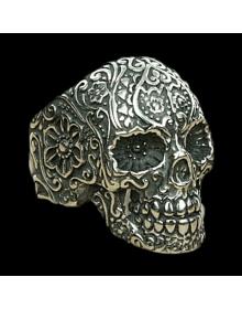 Anel Gótico Masculino em Prata 950 - Caveira - Joias em Prata