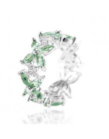 Anel Feminino Verde Claro Luxo Banhado a Ródio