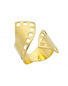 Anel Regulável Semijoia Torcido Vazado Banhado em Ouro 18 K | Joias Boz