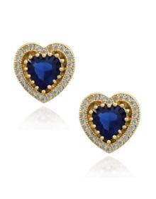 Brinco Coração Azul com Zircônias - Semijoias da Moda