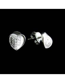 Brinco de Coração Pequeno com Zirconias - Joias em Prata