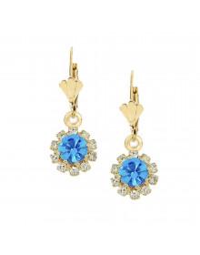 Brincos da Moda Flor Azul Folheados a Ouro 18k - Semi Joias