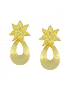 Brinco Banhado a Ouro Flor com Gota - Semi Joias de Luxo