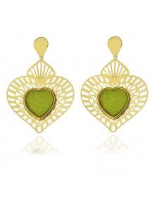 Brincos de Coração Grandes Folheados a Ouro 18k com Pedra Verde Drusa Semijóia