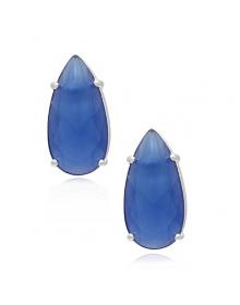 Brinco com Pedra Azul - Brincos da Moda - Joias em Prata