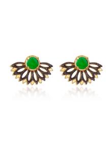Brincos da Moda com Pedras Verdes Folheados Semi Joias