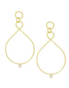 Brincos da Moda Femininos Gotas Dourados Banhados a Ouro 18k