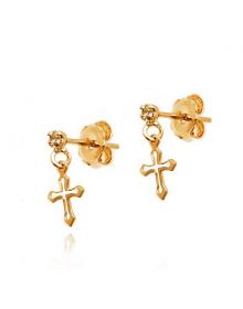 Brincos Pequenos de Cruz Folheados a Ouro - Semi joias