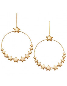 Brincos de Argolas Grandes com Estrelas Banhados a Ouro - Brincos da Moda