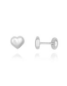 Brincos de Bebê Coração em Prata Pura - Joias em Prata