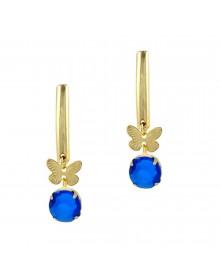 Brincos de Borboleta com Pedra Azul Banhado a Ouro 18k