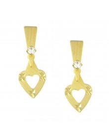 Brinco de Coração Dourado Banhado a Ouro