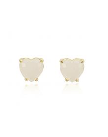 Brincos de Coração Brancos - Semijoias da Moda