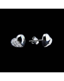 brincos de coracao de zirconias - joias prata