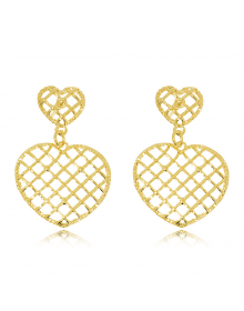 Brincos de Coração Femininos Dourados Semijoias