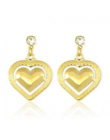 Brincos de Coração Femininos Folheados a Ouro Semijóias