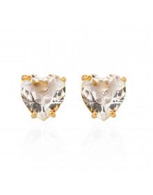 Brincos de Coração Pequenos com Cristal de Zirconia Semijóia Folheado a Ouro