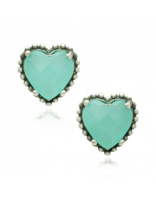 Brincos de Coração Verde Claro - Joias em Prata