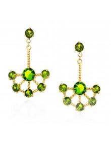 Brincos de Festa Leque com Pedras Verdes Banhados a Ouro 18k - Semi jóias de Luxo para Festas