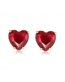 Brincos de Coração com Pedras Vermelhas Folheados a Ouro Semijoias