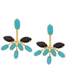 Brincos Azul Turquesa Banhados a Ouro - Brincos Diferentes da Moda
